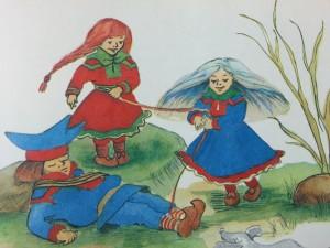 """Illustrasjon fra """"Ammul og den blå kusinen""""."""