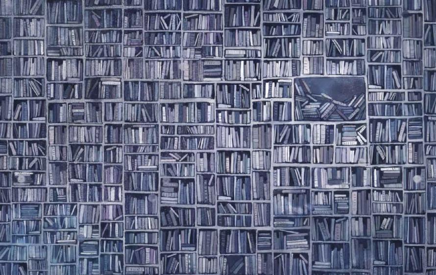Foto: Illustrasjon av Lisa Aisato fra Jenta som ville redde bøkene av Klaus Hagerup. Gjengitt med tillatelse.