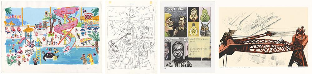Illustrasjonar av Gry Moursund, Lars Fiske, Steffen Kverneland og Marvin Halleraker (Nasjonalbiblioteket)