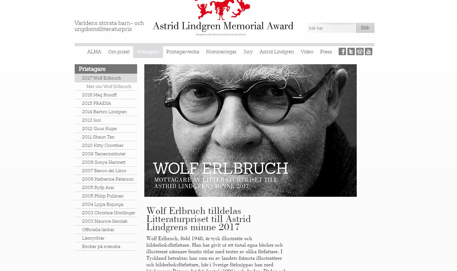 Wolf Erlbruch mottar ALMA-prisen