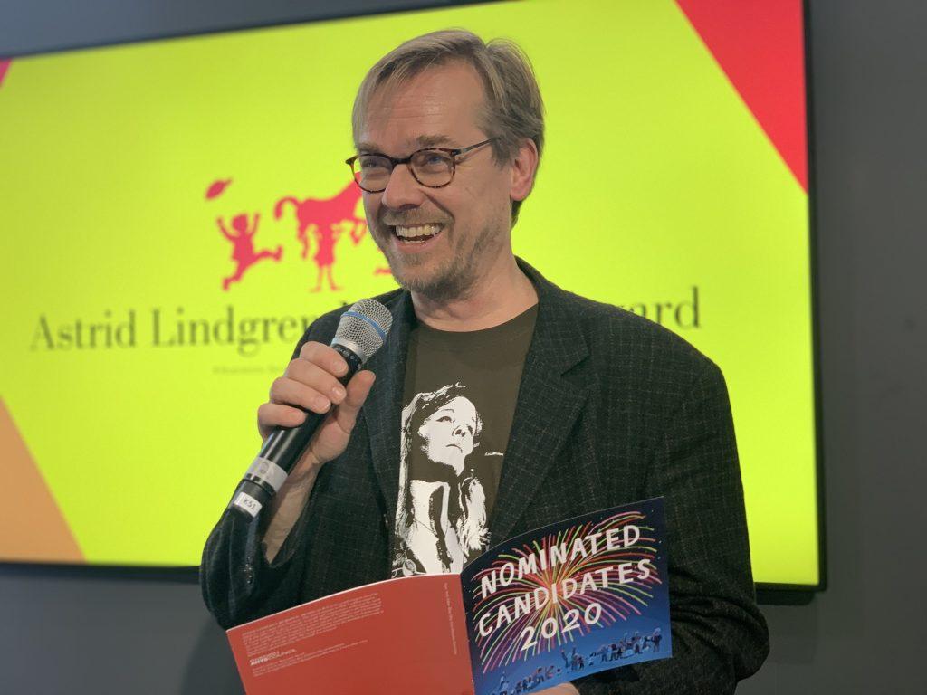 ALMA-juryens leder, Mats Kempe presenterte de nominerte under bokmessen i Frankfurt den 17 oktober, foto: ALMA