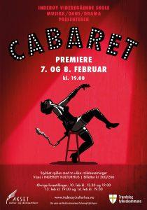 Illustrasjon og design til plakat for musikalen «Cabaret» på Inderøy videregående skole, 2019