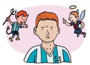 Illustrasjon fra «Matias Maradona» (Atle Berge, Samlaget 2015)