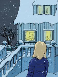 Illustrasjon fra «Dronninga» (Liv Oddrun Larsen, Samlaget 2011)