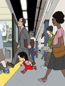 Illustrasjon fra «På rømmen i New York» (Tor Arve Røssland, Samlaget 2008)