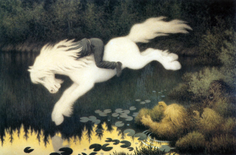 Gutt på hvit hest av Theodor Kittelsen