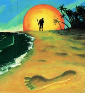 Daniel Defoe: Robinson Crusoe. Omslag ved Hilde Kramer